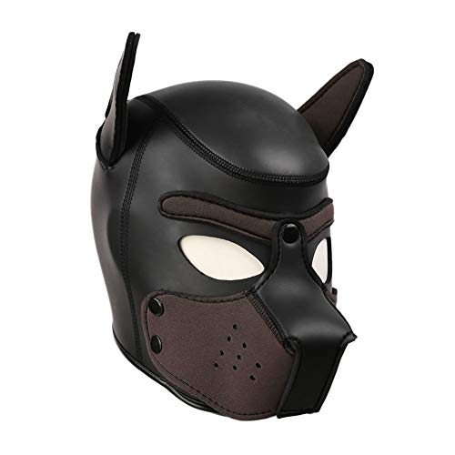 (Unisex Rubber Puppy Dog Hood Mask Wild Animal Head Masks Toys for Costume Cosplay (Black-Coffee))