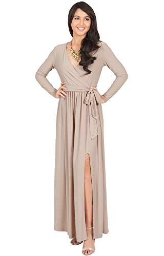 KOH KOH Womens Long Sleeve V-Neck Cross Over High Slit Cocktail Evening Gown Maxi Dress – Large, Light Brown