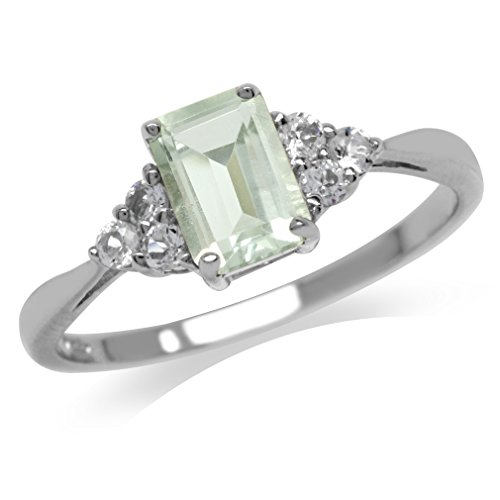 1.09ct. Natural Green Amethyst & White Topaz 925 Sterling Silver Engagement Ring Size 11 - Green Amethyst Fashion Ring