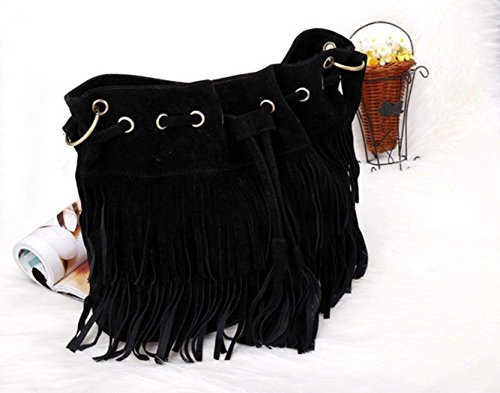 body Cross Womens Fringe Zeagoo Suede Shoulder Black Tassels Faux Bag dAxSXqXY
