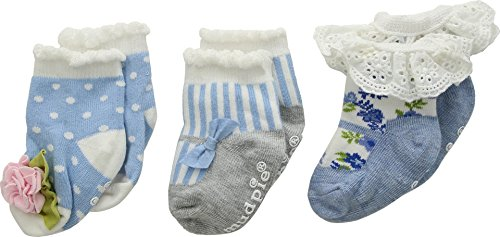 Mud Pie Baby Girl's Garden Rose Socks Set of 3 (Infant) Blue 0-12 Months