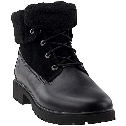 Timberland Women's Jayne Waterproof Teddy Fleece Fold Down Fashion Boot, Black Full Grain, 8.5 M US (Fleece Black Boots)