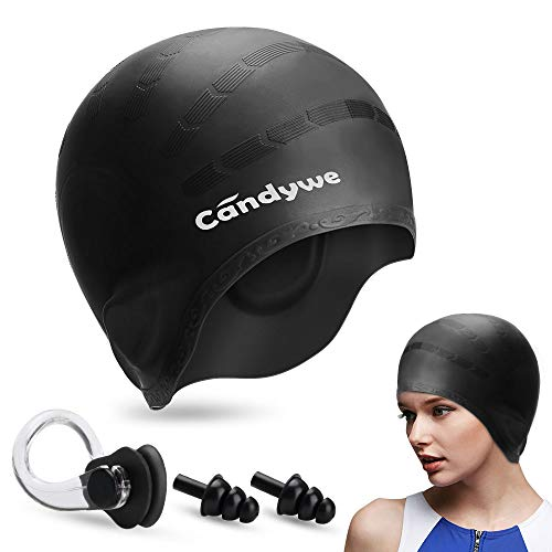 Candywe Swim Cap Cover Ears, Waterproof Silicone Bathing Swimming Cap,Swim Hat for Long Short Hair Women Men Kids Swimming Pool Caps with Nose Clip and Ear Plugs (Black)