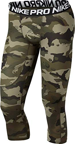 (Nike Men's Pro 3/4 Length Camo Compression Tights (Olive Canvas/White, Medium))
