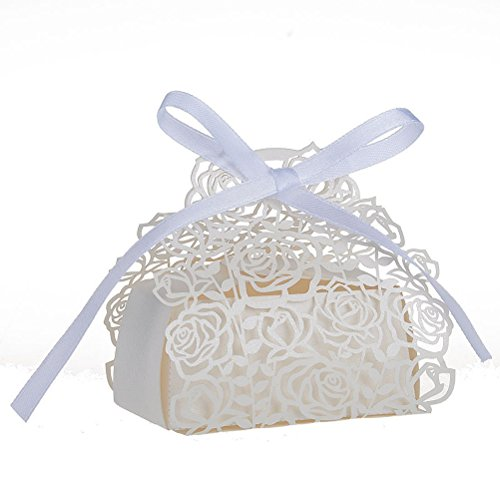 NUOLUX 50 Pack Roses Flowers Laser Cut Favor Candy Box Bomboniere with Ribbons Bridal Shower Wedding Party Favors ()