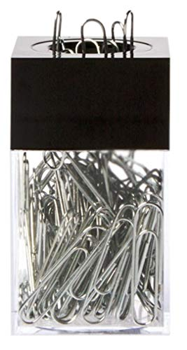 AMAC ClipMaster Magnetic Paper Clip Holder with About 100 Chrome Paper Clips - Crystal Clear Base with Opaque Black Lid