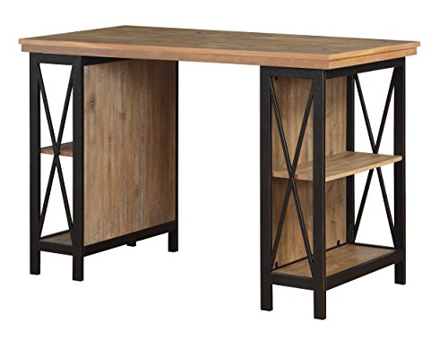 Homelegance Penpoint Industrial Rustic Two-Tone Metal Writing Desk with Shelves, Black/Brown