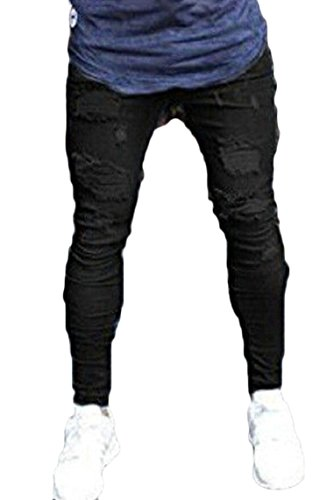 Yayu Men's Biker Skinny Ripped Distressed Destroyed Holes Jeans Zipper Black M by Yayun