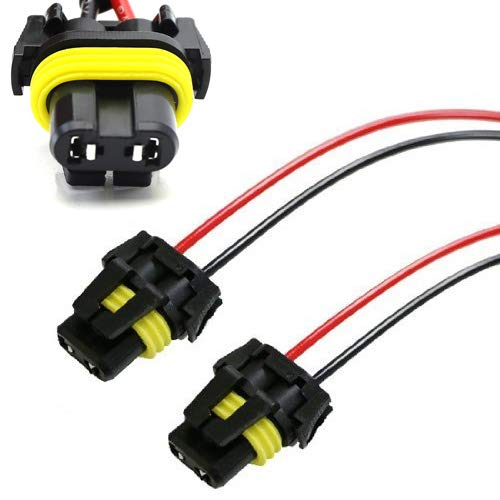 iJDMTOY (2) 900-Series 9005 9006 Female Adapter Wiring Harness Sockets Wire For Headlights Fog Lights