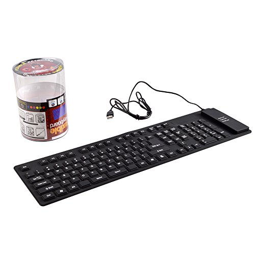 Usb Washable Keyboard - Flexible Keyboard,Oxsubor Flexible Silicone Washable Keyboard with USB 2.0 109Keys Full-Size Compatible for PC Laptop Win 7 32/64 Mac (Black)