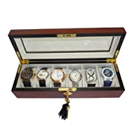 Elegant 6 Piece Cherry Wood Rosewood Watch Box Display Case and Storage Organizer Jewelry Box