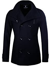 """<span class=""""a-offscreen"""">[Sponsored]</span>Mens Stylish Fashion Classic Wool Double Breasted Pea Coat"""