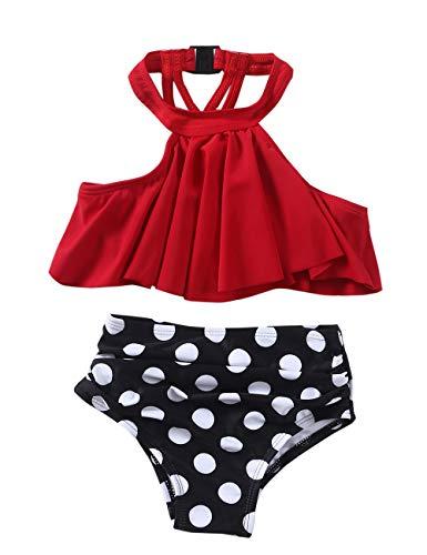 Girls Swimsuit Falbala High Waisted Bikini Set Halter Neck Swimwear Dots Printing Bathing Suits ()