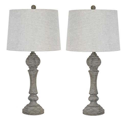 "Grandview Gallery 32"" Reclaimed Grey Table Lamps w/Linen Lam"