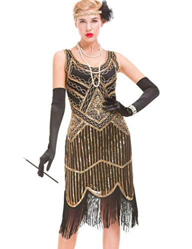 GVOICE Women's 20S Gatsby Dress - Inspired Art Deco Flapper Dress (L, Dark Gold)