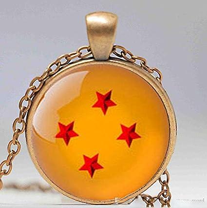 Colgante de cúpula de cristal, 1 pieza de bola de dragón z 4 estrellas, colgante inspirado en bola de dragón, collar de cabujón de cristal