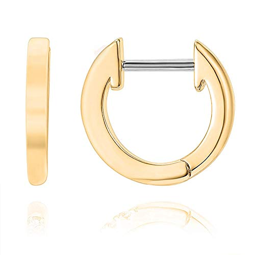 PAVOI 14K Yellow Gold Plated Cuff Earrings Huggie Stud | Small Hoop Earrings for Women
