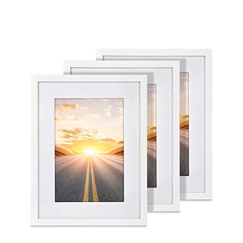SunGlobal 12x16 Picture Frame with 8x12 Mat Set of 3 Wood Decorative Wall Hanging Print Poster Frame Includes S Shape Frame Hanging Hooks and Hardwall Hangers (White) (12x16 White Frame)
