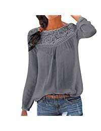 DMZing - Blusa de Encaje para Mujer, Estilo Informal, Elegante, con Parches de Encaje, de Manga Larga, Color Liso