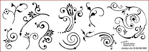 Schablone Shabby Chic Kreativbaukasten, 02-003-002-0005, florale Ornamente als Wandschablone, Textilschablone, Möbelschablone, Keilrahmengestaltung und Deko, Schablonengröße 60 x 21 cm