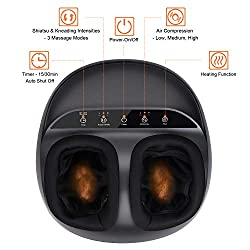 RENPHO Shiatsu Foot Massager Machine with Heat, Deep Kneading Therapy, Compression, Relieve Foot Pain from Plantar Fasciitis, Improve Blood Circulation, Fits feet up to Men Size 12
