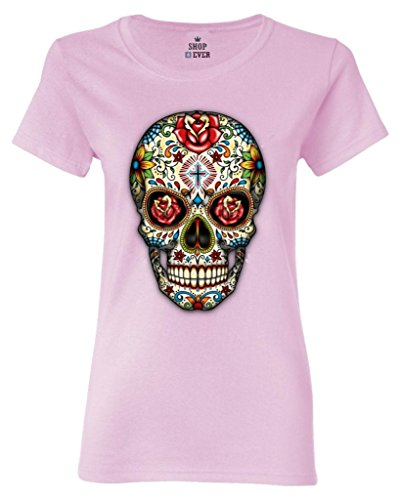 Shop4Ever Sugar Skull Red Roses Women's T-Shirt Day of The Dead Shirts Medium Light Pink16553