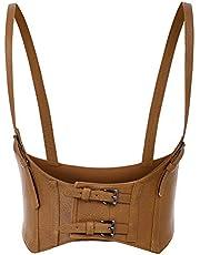 KANCY KOLE Women Fashion Faux Leather Waist Belt Steampunk Underbust Corset
