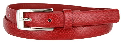 7045 Women's Skinny Lizard Embossed Leather Casual Dress Belt (Red, Small) - Lizard Dress Belt
