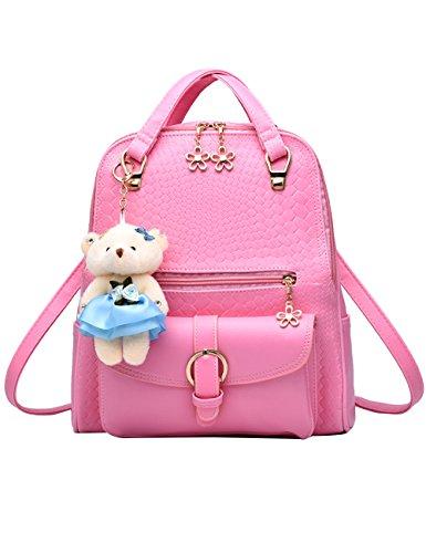 Menschwear Pu Sac à Dos Satchel Daypack Blanc Rose School Bag