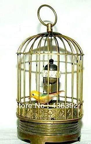 (ZAMTAC Eximious Brass Birdcage Machine Clock with Bird Inside 5
