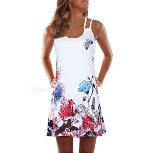 Manches Beach Sling 2 Mini Femme Robe Blanc Sexy Robe Robe Moulante Dames Floral Sexy Longue Fendue ELECTRI Gilet Robes Vacances Imprime Jupe sans Summer wa4q16xxC
