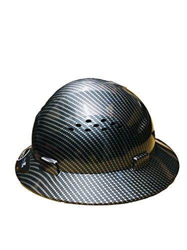 HDPE Hydro Dipped Black Full Brim Hardhat Carbon Fiber with Fast-Trac Suspension by IM Products (Image #1)
