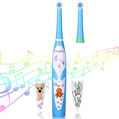 Electric Kids Tooth Brush, OLAXER IPX6 Soft Kids Electric Musical Spinning Toothbrush Powered by 2XAAA Batteries Automatic Singing Toothbrush Set with Timer for Kids, 2 Brush Heads - Toothbrush Musical Kids