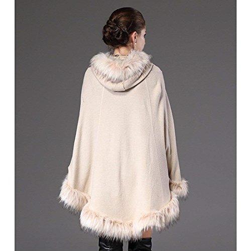 Moda Cardigan Chal Mujer De Rot Sólido Con Capucha Poncho Cuello Invierno Sintética Primavera Color Casual Fashion Abrigos Elegantes Otoño Piel 6rv6fwqx