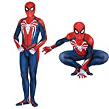 Spider Man PS4 Insomniac Spiderman Costume 3D Print Spandex Halloween Zentai Suit Adult/Kids (Adult-M, PS4 Suit) … … Blue