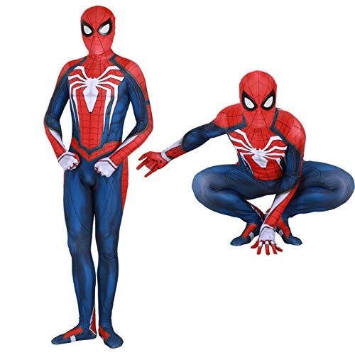Spider Man PS4 Insomniac Spiderman Costume 3D Print Spandex Halloween Zentai Suit Adult/Kids (Kids-S, PS4 Suit) -