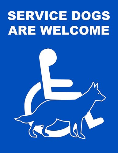 SERVICE DOGS ARE WELCOME Sticker -business restaurant cafe window decal