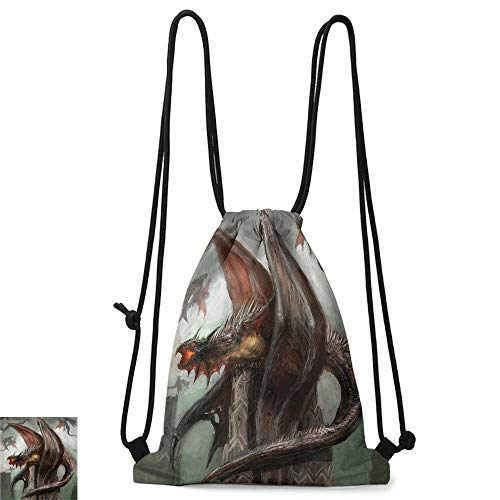 (Personality backpack Fantasy World Decor Collection Dragons in Battle at War Fire Spewing Reptilian Serpent Beast Animal Monster Theme W14