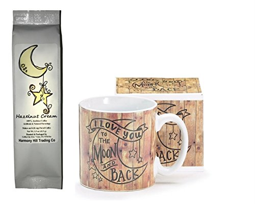 I Love You to the Moon and Back Wood Look Coffee Mug with Moon and Star Hazelnut Cream Coffee Gift set 2 Piece Bundle