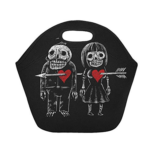 Insulated Neoprene Lunch Bag Two Lovers Skeleton Man Woman Pierced Large Size Reusable Thermal Thick Lunch Tote Bags For Lunch Boxes For Outdoors,work, Office, School