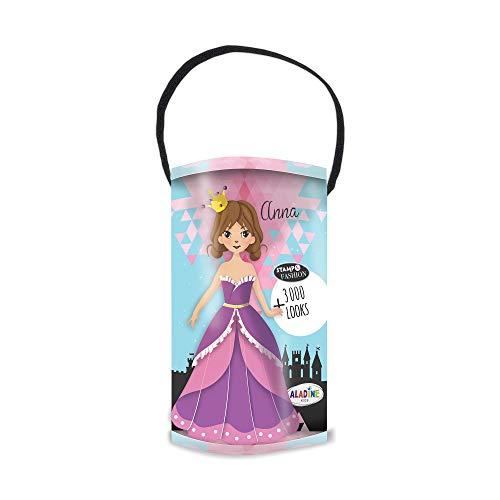 Aladine - Stampo Fashion Box Princesse - Grande Boîte de Tampons Mode - Invente plus de 3000 Looks Différents - Tampons Tête + Jupes + Bustier + Accessoires à Mixer - Encreur Inclus - Dès 5 ans