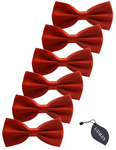 Udres 6 Pack Solid Bow Tie Satin Pre-tied Bowtie for Wedding Party (One Size, Red) (Red Bow Tie)