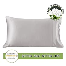 LilySilk Both Side Silk Pillowcase For Hair and Skin 100% Pure Mulberry Silk Envelope Closure Anti-Aging and Hair Loss 1pcs Gift Box Standard(20''x30''), Silvergrey