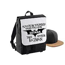Always Be Batman-Womens Funny Sayings Novelty Bagbase Backpack Bag-Black