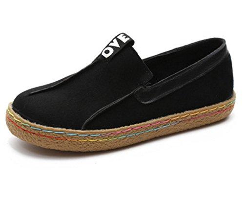 Chaussures Cuir Sur De Noir Conduite Doux Glisser Custome Suède Femme Faux Fx40R
