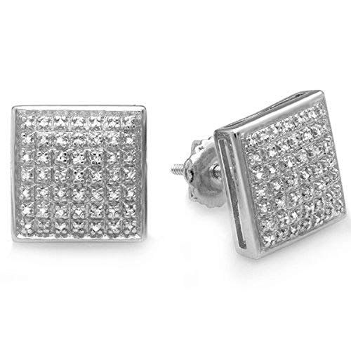Dazzlingrock Collection 0.33 Carat (ctw) Diamond Dome Square Shape Mens Ladies 10.5 mm Stud Earrings 1/3 CT, Sterling Silver ()