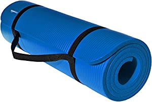 AmazonBasics 1/2-Inch Extra Thick Exercise Mat with Carrying Strap, Blue