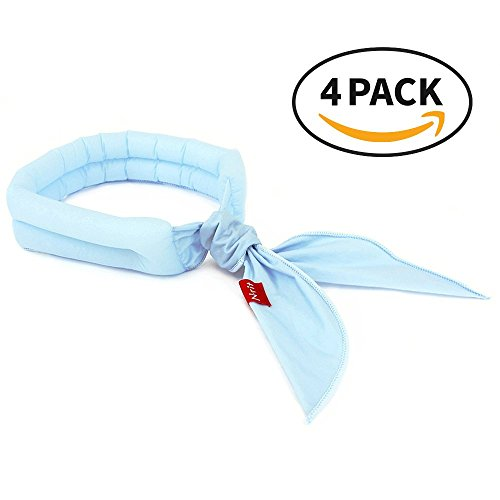 N-rit Cooling Scarf. Wrap a Soaked Tie Around Neck or Head to Instantly Chill Out. Crystal Polymer Technology Keeps Cool & Reusable. Great for Summer, Outdoor Activities & Sports. [Light Blue 4 PK]
