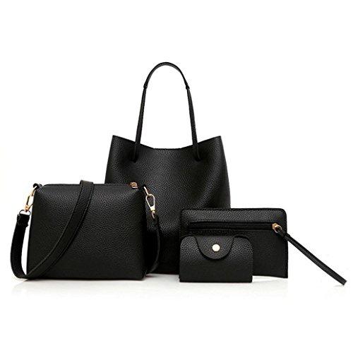Clearance!4Pcs Women Bags,Todaies Women Pattern Leather Handbag+Crossbody Bag+Messenger Bag+Card Package (Black)