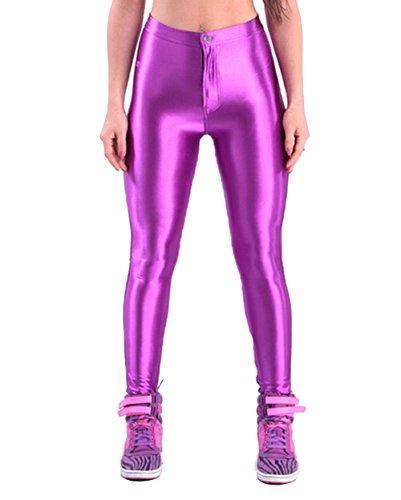 (Yomsong Women's Clothing High Waist Shiny Satin Disco Pants (X-Large, Light)